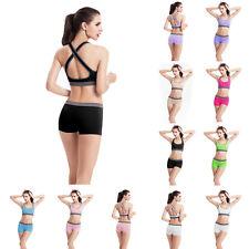 Women Sports vest Padded Yoga Bra Racerback Athletic Vest Gym Fitness shorts Set