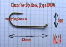 100 x Classic Wet Fly Hook, No.14, Bronzed,(Type 80000)