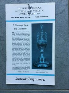 SPURS 1960-61 DOUBLE-WINNING SEASON HOME MATCH PROGRAMME WBA (LEAGUE).