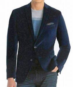 Bar III Men Sport Coat Blue Size 40 R Velvet Two-Button Slim-Fit Blazer $295 026