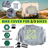 PROTECTIVE COVER W/ REFLECTIVE SIGN 2-3 BIKES WATERPROOF FOR MOTORHOME BIKE