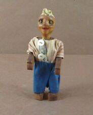 Vintage Hand Made Wood Wooden Doll Signed Oswald Folk Art
