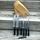 Chicago Cutlery Knife Block 7 Knives Chefs Paring Utility Black Handle