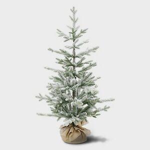 3.5ft Unlit Potted Flocked Balsam Fir Artificial Tree - Wondershop