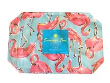 """Flamingo Vinyl Placemats Set of 4 NEW 12x18"""" Indoor Outdoor Summer Beach House"""