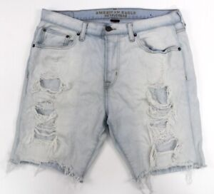 mens destroyed distressed AMERICAN EAGLE cutoff jean shorts denim core flex 34