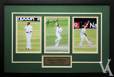 SHANE WARNE SIGNED & FRAMED CRICKET MEMORABILIA  PHOTOS