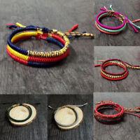 Tibetan Buddhist Handmade Knots Lucky Rope Bracelet Adjustable Size Hot Unisex