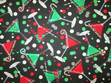 Martini Cocktail Glasses Holiday Candy Cane Red Green Cotton Fabric BTHY