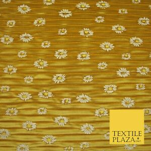 Mustard Gold White Daisy Floral Printed Pleated Plisse Satin Dress Fabric 5402