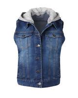 ZIMEGO Women's Juniors Sleeveless Hooded Jacket Cropped Denim Vest