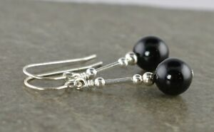 Black Onyx Gemstone & Sterling Silver Drop Earrings + Gift Box
