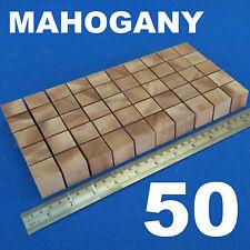 """LOTTO 50 CUBI 1.0 """" / 25mm in legno blocchi Bundle Set MOGANO LEGNO NATURALE ECO mattoni"""