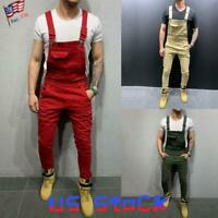 Fashion Men's Jeans Denim Slim Pants Bib Jumpsuits Suspender Overalls Casual US