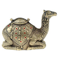 Red Rhinestone Camel Toy Coin Piggy Bank Money Saving Box Antique Alloy