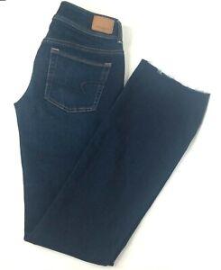 American Eagle Womens Dark Wash Kick Boot Super Stretch Jeans Size 4 Tall EUC