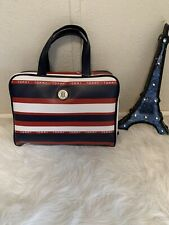 NWT Tommy Hilfiger Leather Cosmetic Makeup Bag- One Size, Navy/Red/White MSRP$68