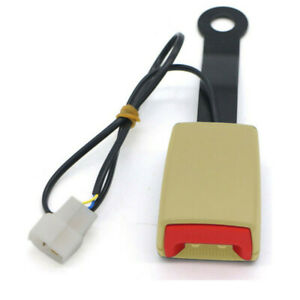 """7/8"""" Car Safety Seat Belt Beige Buckle Socket Plug Connector with Warning Cable"""