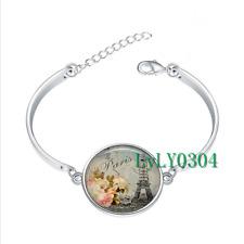 Shabby-chic Paris glass cabochon Tibet silver bangle bracelets wholesale