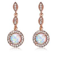 European Style White Fire Opal White Topaz Rose Gold Plated Stud Hook Earrings