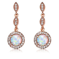 European Style White Fire Opal White Topaz Rose Gold Plated Stud Hook Earrings