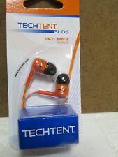 TechTent Buds Juicy Orange earbuds 3.5mm NEW