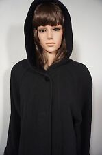 Halston Ladies Coat Size 8 P Vintage Long Black Wool Hooded Button Front Lined