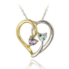 925 Silver Two Tone .48ct Amethyst & Blue Topaz Heart Pendant