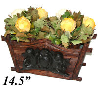 "Antique Black Forest 14.5"" Jardiniere or Plant Box, Figural Gutta Percha Cherubs"