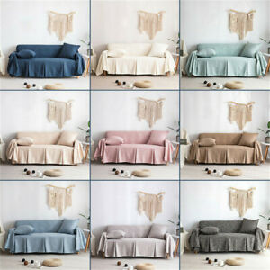 1/2/3/4 Seater Solid Cotton Blend Chair or Sofa Protector Slipcover Couch Cover
