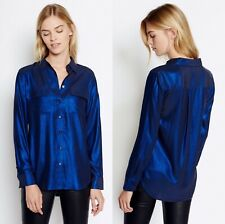 New Arrival Equipment Klein Blue Gilded Silk Double Pocket Blouses Lady'S Shirt