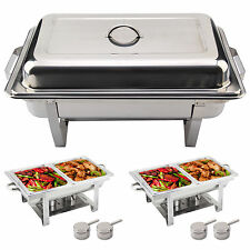 PACK OF 2 STAINLESS STEEL CHAFING DISH SETS WITH 9L FOOD PANS, FUEL SPOONS UK