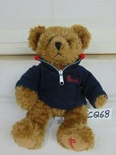"12"" Harrods Of London Brown Plush Bear With Sweatshirt Rare"
