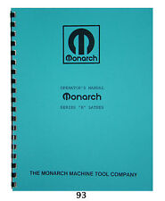 Monarch Lathe Model K Operator & Parts Manual   #93