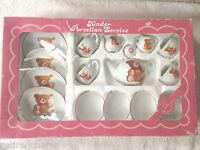 ❤VINTAGE STEIFF 1987 Child's Tea Set Dishes Petsy Teddy Bear Porcelain 39.580/4❤