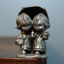 Hudson Pewter Hallmark Betsy Clark 1982; two girls sharing umbrella Rare 1.75""