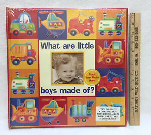 Photo Album Baby Book Keepsake Memory What Are Little Boys Made Of 50 Slots