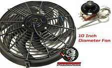 "12 Volt 10"" Electric Radiator Cooling Fan & Thermostat Intercooler 120W"
