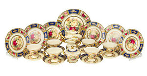 Euro Porcelain 24pc Roses Tea Cup Set Antique Blue 24K Gold Vintage Dining for 6