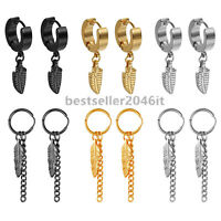 12pcs Stainless Steel Feather Dangle Hoop Huggie Stud Earrings Set for Men Women
