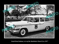 OLD POSTCARD SIZE PHOTO OF SOUTH BEND INDIANA THE STUDEBAKER POLICE CAR c1957