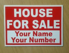 House For Sale sign with custom text included.  Plastic A3 Size 300mm x 420mm
