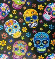 1 Yard Sugar Skulls Cotton Fabric Day of the Dead Dia de los Muertos COLORFUL!