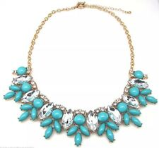 Crystal Acrylic Flower Turquoise Bib Chunky Statement Necklace NEW