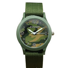 Boy Teen Adult Camo Green Army Military Color Canvas Strap Wrist Watch Gift