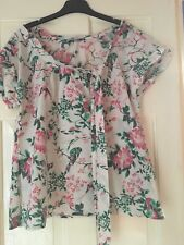 M&Co Ladies Short Sleeve Top Bird and Flower Design Side Tie Boho Size 14 VGC