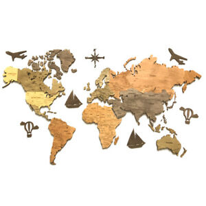 Wooden World Map Wood Decor Wall Home Art Room Travel Map Large Size S M L XL