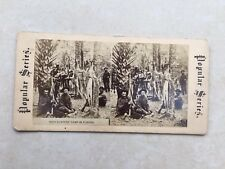"""Old sepia Stereoview 3D slide/photo titled """"Deer Hunters Camp in Florida"""""""