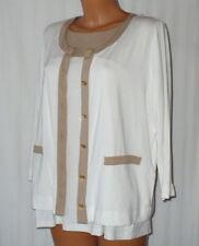 Betty Barclay * elegantes Twin-Set * Gr. 42 * weiss mit beige abgesetzt