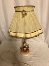 Vintage Hummel Boy With Bird On Fence Table Lamp With Vintage Lampshade